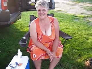 Granny wirh big white bra