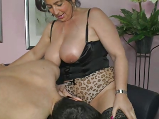 German mom shows boy how to make a woman cum