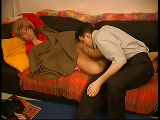 Blonde mature woman gets seduced by her younger lover