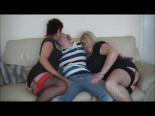 Hot amateur British MILF threesome fuck